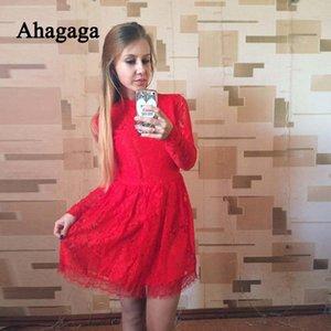 Ahagaga 2020 лето осень LaceDress женщин Мода Solid Regular выдалбливают Sexy Club Онлайн Bodycon платье Женщины Платья Платье