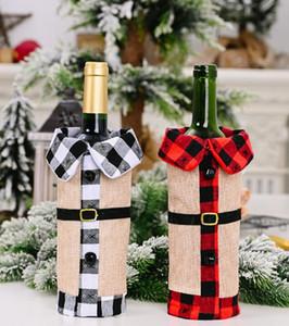 Noel Kırmızı Şarap Şişesi Kapağı Ekose keten Şarap Çanta Noel Süsleri Şarap Yaka Kırmızı Şişe Kapakları Parti Ev Dekorasyonu GGA3563-3 ayarlar