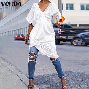 VONDA Women Party Tops Asymmetrical Shirts Bohemian Tunic 2020 Summer Casual Loose Sexy Half Lantern Sleeve Blouse Plus Size Y200622