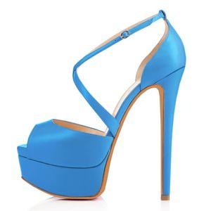 LOSLANDIFEN Women Pumps Nightclub Sandal Ultra Fashion Bride Shoes 14cm Super High Heels Sandals Pump Leather Platform 817-23MA
