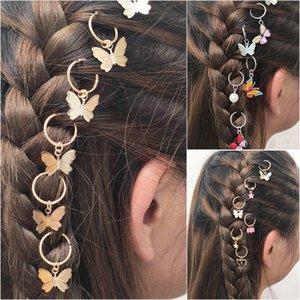 Forma de la mariposa de Bohemia color plata del pelo de la trenza de pelo Dreadlocks Cuentas de bricolaje mujeres clip puños accesorios principales QhnD #