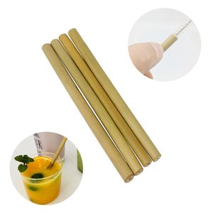 10pcs set Bamboo Straw Drinking Straws Reusable Eco-Friendly Straws & Clean Brush Useful Wedding Bar Party Accessories