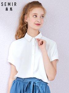 SEMIR 2019 summer new short sleeve shirt women lapel college wind girl sweet college wind chiffon shirt tide CX200714