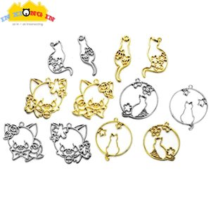 5pcs Silver Sakura Cats Charms UV Resin Open Bezels Gold Round Star Cat Pendant Resin Jewelry Making Decor Keychain Cabochons