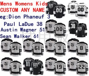 Los Angeles Kings Jersey Dion Phaneuf Jersey Paul LaDue Austin Wagner Sean Walker Hommes Noir Blanc Hockey Maillots personnalisés Cousu