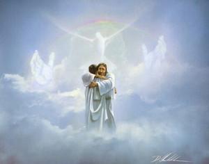 Homem Danny Hahlbohm REUNIÃO Jesus abraços no céu - Welcome Home Home Decor pintura a óleo sobre tela Wall Art Canvas 200708