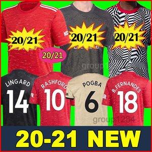 FC Manchester United soccer jersey football shirt maglia da calcio 2020 2021 POGBA LINGARD LUKAKU RASHFORD MARTIAL maglia da calcio UtD 20 21 uniformi Maglie da kit uomo + bambino