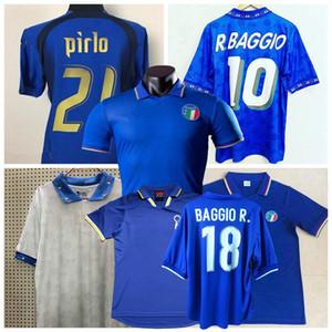 Retro classique 1982 1986 1990 1994 1996 1997 1998 1999 2000 2006 de football maillot Italie totti Pirlo MALDINI R.BAGGIO chemise Baresi de football