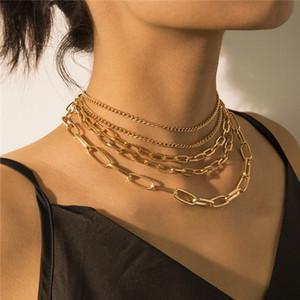 5pcs Lot European Geometric Thin Thick Chain Retro Punk Multi Layer Pendant Necklace Women Cross Mix Match Necklaces Jewelry