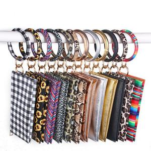 Wristlet Purse Bangle Keychain Phone Bag PU Leather Bracelet Key Ring Holder Women Girls Jewelry Sunflower Plaid 11 Designs 4972
