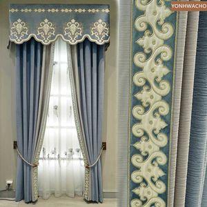 Custom curtain  European living room modern blue solid dark pattern cloth blackout curtain valance tulle panel C255