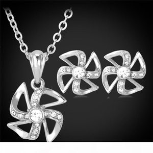 Rhinestone Pendant Necklace Stud Earrings for Women 18K Real Gold Platinum Plated Windmill Cute Fashion Jewelry Set