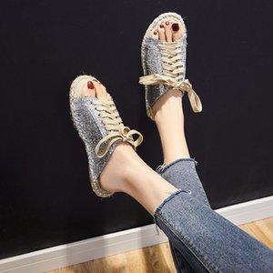 외부 착용 슬리퍼 여성 여름 2020 새로운 스타일 다목적 CHIC 슬리퍼 WOMEN '플랫 슈즈 캐주얼 스트로 어부의 신발 레이스 업