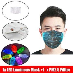 RGB 빛 PM2.5 필터 패드 카니발 가상 파티 얼굴 LED 광섬유 마스크 CCA12321 마스크 변경 7 색 LED Lumions 섬유 마스크