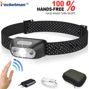 3000lumens LED-Scheinwerfer Scheinwerfer Wiederaufladbare Körperbewegungs-Sensor-Kopf-Licht-Lampe Ultra Bright am besten mit USB-Camping, Angeln