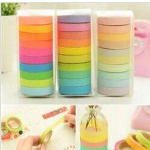2016 2016 Lavaport Rainbow Washi Sticky Tape Colorful Masking Adhesive Paper Scrapbooking Lavaport Rainbow Washi Sticky Tape home2010 slyeF