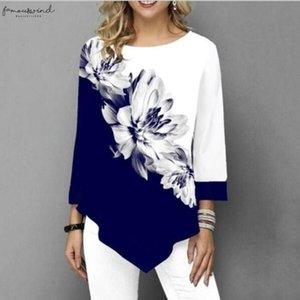 Shirt Women Spring Summer Printing Blouse 3 4 Sleeve Casual Hem Irregularity Female Fashion Shirt Tops Plus Size