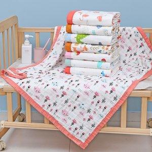 Yüksek yoğunluklu Klima banyo gazlı bez banyo havlusu 110X110CM bebek havlusu baskılı bebek yorgan klima yorgan Altı katmanlı