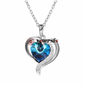 Yoursfs Luxury Titanic Heart of The Ocean Necklace Blue Stone Pendant Necklaces & Pendants Heart Necklaces for Women Jewelry