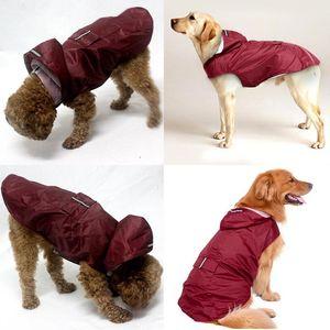 Pet small Dog Raincoat Waterproof Large Dog Clothes Outdoor Coat Rain Jacket Reflective Puppy Big dog poncho Breathable mesh T200328