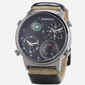 Montre Homme Grand Case Luxe Quartz Montres Hommes Montres double temps Relogio Masculino Toile Bracelet Sport Homme Horloge Homme