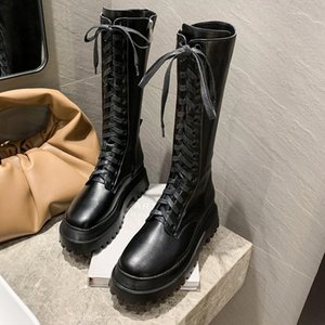 Shujin 2020 Кожа Толстая Bottom Boots Женщины Мода черный Mid-теленок Круглый Toe платформы Квартиры Zipper Lace-Up зимняя обувь женщина