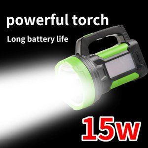 Dupla fonte de luz LED Searchlight Outdoor Camping portátil Waterproof Noite Walk Home recarregável Searchlight