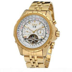 El oro de lujo caliente Marca automática Tourbillion acero inoxidable militry Relojes Hombre Relogio MMasculino exquisito mecánico