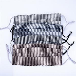 Fashion Designer Plaid motif imprimé Masque 4 Couche lavable resuable de protection Coton Masque Tissu Masque bouche prix direct usine