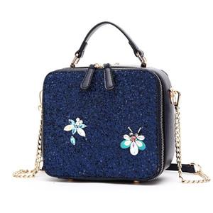 Женщины сумки кожа Лоскутное Вышивка сумки на ремне сумки Креста тела сумка Tote Braccialini Блестящий Кристалл Dragonfly