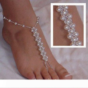 Summer Footless Bridal Foot Jewelry Women Faux Pearls Anklets Beach Wedding Pearl Barefoot Sandals Stretch Anklet Chain