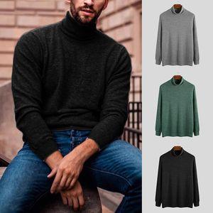 2020 새로운 가을 겨울 남성 스웨터 남성 터틀넥 단색 캐주얼 스웨터 남성 슬림핏 니트 풀오버를 바닥으로 탑