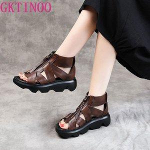 Sapatos GKTINOO Mulheres Gladiator Sandals Verão Mulheres Cunhas Platform Sandals Retro Couro Frente Zipper Casual