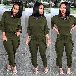 Kıyafetler İlkbahar Sonbahar Kadın İki Adet Pantolon Katı Renk Bayanlar Mürettebat Boyun 2 Piece Womens Kalem Pantolon Tops