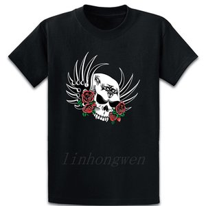 Tribal Skull With Roses T Shirt Loose Cotton Printed Family Standard Spring New Style Round Collar Shirt