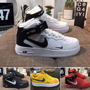 With box Sale 2019 New Design Forces Men Low Skateboard Shoes Cheap One Unisex 1 Knit Euro Air High Women All White Black Red T-R9A