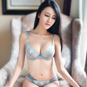 shaonvmeiwu Sexy bud bordados ultra finos gaze líquida transparente set bra set bra T calças Y200710