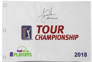 Тайгер Вудс Подписанного автограф 2018 Tour Championship Мастеров открыт флаг гольф контактных письмена «восьмидесятый Tour Win»