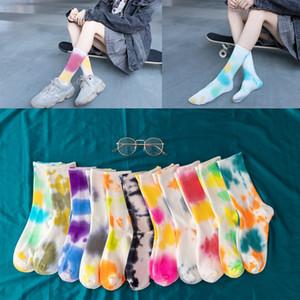 10 개 색상 새로운 패션 남여 양말면 다채로운 긴 양말 타이 염색 귀여운 예술 힙합 소녀 튜브 양말 M2463