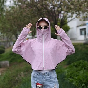 Small brim Cloak hoodie sunscreen shawl female 2020 new long sleeve hoodie beach cloak