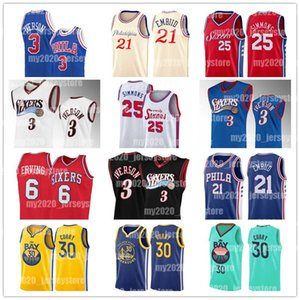 Philadelphia Joel 21 Embiid 76ers Pallacanestro maglie Curry Giulio 6 Erving d'oro 30 State Warriors Stephen Allen Iverson Ben 25 Simmons