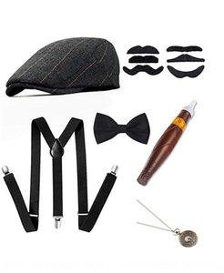 Men's theme party Beret pocket watch strap beret cigar pocket watch strap bow tie six-piece set