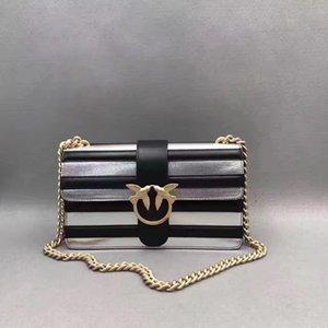 Top quality Italy designer Fashion WomenPinkODouble swallows handbag Genuine leather Party bag 27*16*8cm black stripe wholesale