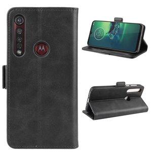 Para Motorola Moto G8 mais o dobro Buckle Crazy Horse Negócios Mobile Phone Holster com função de cartão da carteira Bracket