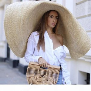80cm Fashion Large Sun Hat Beach Anti-UV Sun Protection Foldable Straw sombrero Lace Up Brim Straw hat collapsible beach gorras