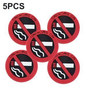 5 PC를 자동차 스타일링 금연 경고 로고 고무 스티커 자동차 스티커 (원형)