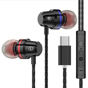 In-ear fone de ouvido com fio Tipo-c Música Esportes Earbuds para Samsung Xiaomi Mi 8 Huawei P20 P30 Leeco Tipo USB c metal Headset com microfone