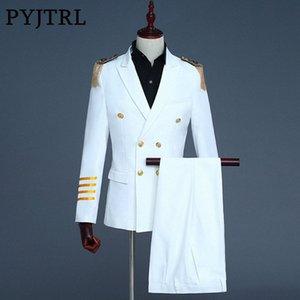 PYJTRL nuevo Mens marino Blanco Capitán azul trajes reciente bragas de la capa diseños de vestidos de novia Hombres novio Blazer Hombre Slim Fit oQh1 #