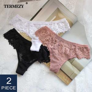Kadın külot 2 adet / grup Kadınlar seksi dantel lingerie günaha düşük bel nakış tanga şeffaf iç çamaşırı oymak