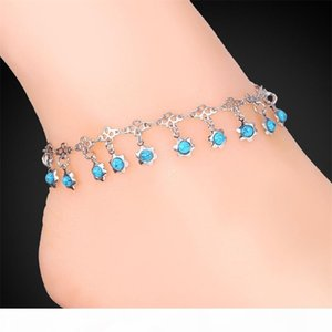 Women Blue Turquoise Stone Charms Ankle Chains 18K Gold Platinum Plated Sandal jewelry Summer Anklets Bracelets